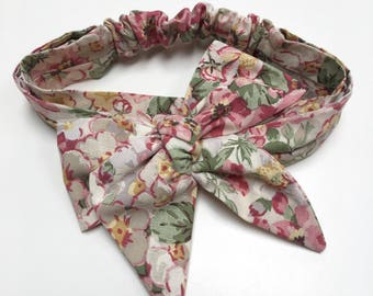 Floral Baby Headband // 6-12 months // Vintage Fabric // Elasticated
