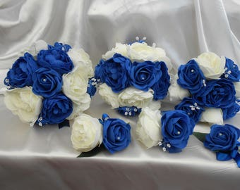 peony bouquet package royal blue ivory roses soft touch flowers brides bouquet bridesmaids bouquet buttonhole  blue ivory peonies