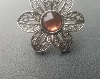 Amber colored flower ring