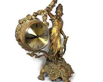 1910 ANTIQUE ORNATE CLOCK Gold Rococo Clock Figural French Style Ormolu Clock Cast Bronze Paris Apartment Hollywood Regency Decor