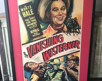 "Original ""The Vanishing Westerner"" Movie Poster With Frame"