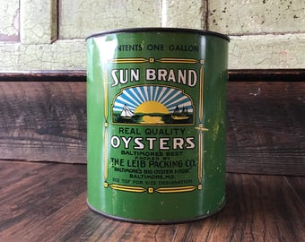 Original Sun Brand Oyster Tin - Leib Packing Co. Baltimore