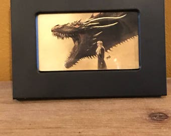 Game Of Thrones inspired framed picture - Dragon and Daenerys Targaryen