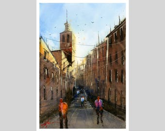 Fine Art Print of Segovia Spain Alley Watercolor Painting Signed Cityscape Spain Scene Urban Giclee High Quality Vibrant Impressionist Plaza