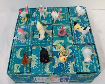 """Antique Lot Of (12) Hand Blown Glass Animals Including: Birds, Dragons, And More. Stamped #211, In Original Packaging (Figurines Measure 2"""")"""