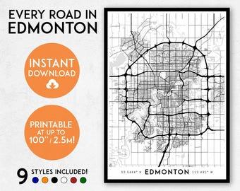 Edmonton map print, Printable Edmonton map art, Edmonton print, Alberta print, Canada map, Edmonton art, Edmonton poster, Edmonton wall art