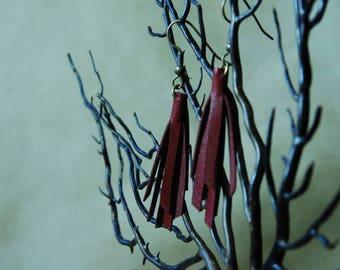 Burgundy Red leather tassel earrings