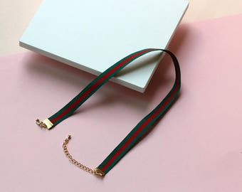 GUCCI-like stripes choker necklace / green red choker necklace green choker