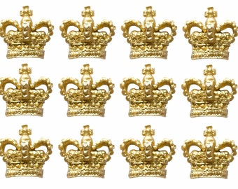 Set of 12 fondant golden or silver crown cupcake toppers