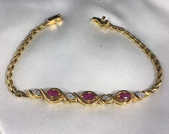 Vintage Sterling Silver Ruby & Diamond Bracelet