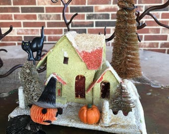 Vintage 6 PC Halloween Lighted Decoration, Diorama,Vignette-Crepe Paper Honeycomb Witch Stands in Front of Cardboard House, Cat,Bat,Pumpkin