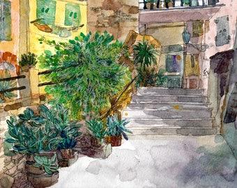 Hidden Alley Riomaggiore, Watercolor Art Print A4, Cinque Terre Italy, Home Decor