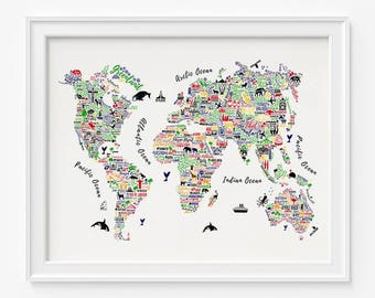 World Map Print, Typography Map Poster, Typography World Map, World Map Poster, 1, Typography Print, Home Decor, Room Decor, Valentines Day