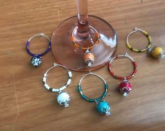Glass bead wine charms