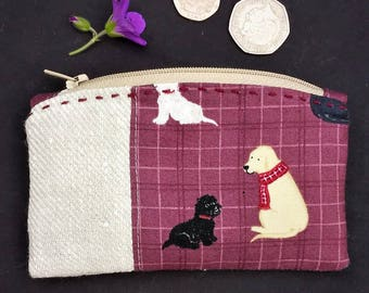 Quilted Coin Purse, Change Purse, Little Dogs design