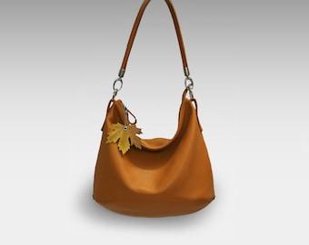 Leather hobo bag orange women's handbag  shoulder strap crossbody leather purse  zippered tote Slouch Hobo Bag Soft Leather Casual Purse