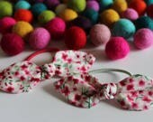 Mini Pink Floral Knot Hair Tie