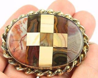 Superb Antique Victorian Scottish Gilt Metal Scottish Agate Pietra Dura Brooch - c1890