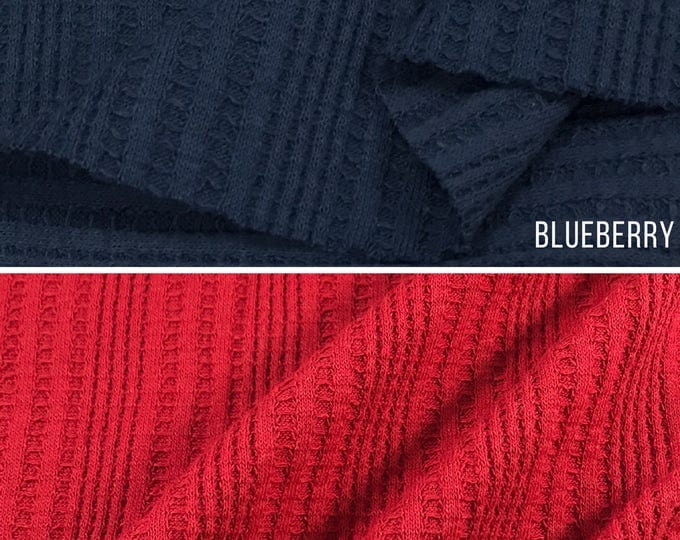 Thermal Knit Fabric By The Yard (Wholesale Price Available By The Bolt) USA Made Premium Quality - 7316P - 1 Yard