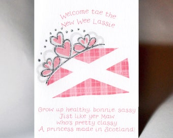 Baby Girl Made in Scotland Card WWBA41