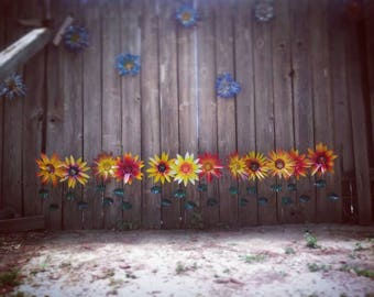 Fall Flower Garden Stakes , Autumn Flower Garden Decor, Metal Art Fall Season, All new fall colors available