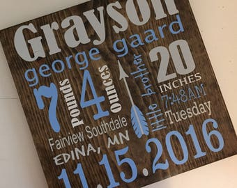 Birth announcement wood sign. Nursery decor.