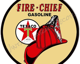 """Vintage Style """" Texaco Fire Chief """" Round Metal Sign"""