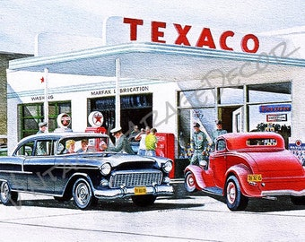 Texaco Gas Station 1955 Chevy and Deuce Coupe Automobile Reproduction  - Jack Schmitt Artwork on Metal Sign