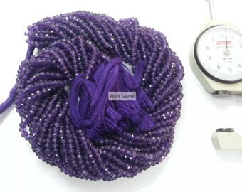 13 Inch African Amethyst Faceted Rondelle Beads Strand 100% Natural African Amethyst Rondelle - Amethyst Beads - Amethyst Faceted Beads