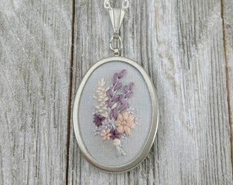 Hand Embroidered Necklace Pendant. Floral Bouquet. Fabric Necklace. Flower Jewelry. Floral Accessory. Sister Gift Charm