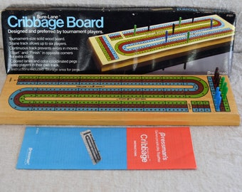 Vintage Cribbage Game Large Tournament Size Wood Board Pressman Sure Lane Colored Lanes With Color Coordinated Pegs Complete Cribbage Game