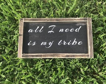 my tribe sign, family sign, wood sign, sign, framed sign, distressed wood sign, love sign, home decor, wall decor, wall hangings, wood decor