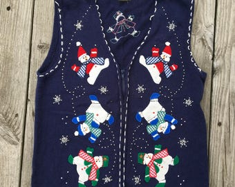 Vintage Ugly Christmas Vest sweater Tacky Christmas party