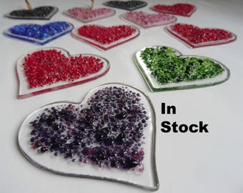 Fused glass heart, heart light catcher, window decoration, Valentine gift for her, stained glass art, wedding gift, anniversary gift