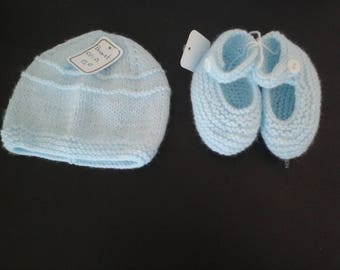 sky blue hat and booties newborn shoes