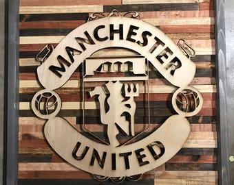 Rustic decor Manchester United wall art
