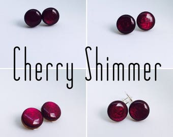 Cherry Shimmer Round Resin/Bamboo Earrings - various sizes and bails • studs • clip ons • drop • dangles • surgical steel • silver plated