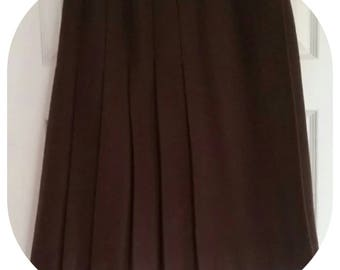 Vintage 70's pleated 'Gor-ray' Chocolate Wool skirt Size 6-8
