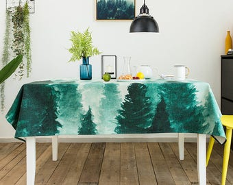 Cloud Forest Rectangle Kitchen Table Decor, Thick Fabric Tablecloth, Green  Nature Tablecloth, Texture