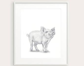 Baby Pig. Nursery Art. Nursery Decor. Baby Animal. Nursery Print. Baby's Room Decor. Animal Drawing. Kid's Wall Art, Kid's Decor. Baby Art