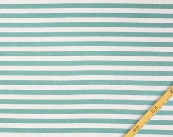 1/2 Yard Organic Cotton Jersey Knit,NOSH ORGANICS,Midi Stripes Blue Green - Vanilla Jersey  ,Organic Knit Fabric