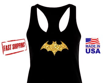 Batgirl Shirt, Bat girl Tank Top, Womens Workout Black Tank Top, Gold Glitter Racerback, FAST SHIPPING.
