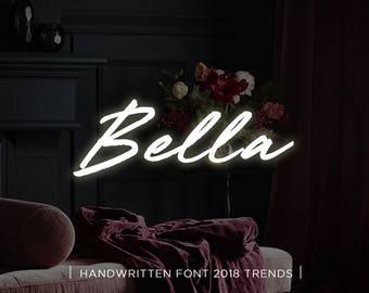 Bella digital font download, Calligraphy font, Digital font, Wedding font, Handwritten font, Download digital font, Swirly font, Script