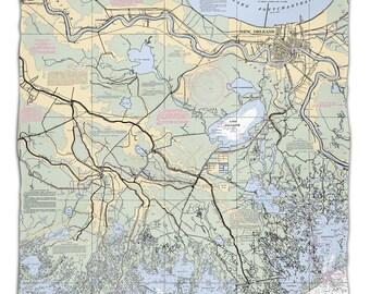 LA: New Orleans, LA Nautical Chart Fleece Throw Blanket, Map Blanket