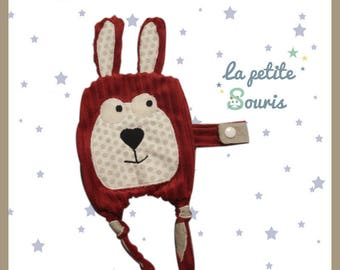 """flat plush clip pacifier ultra soft """"Lilizou"""" red Carmine and taupe"""