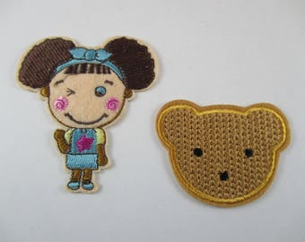 Little girl and teddy bear fabric, fusible badge.