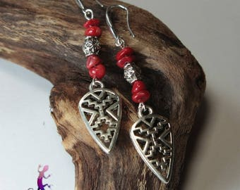 """Hopi"" earrings in coral and sterling silver 925"