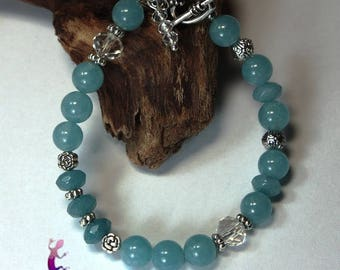 "Bracelet ""Rajapur"" aquamarine, chalcedony and Crystal with metal toggle clasp"
