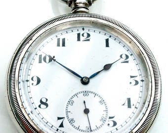Post WW1 1919 very large solid silver pocket watch