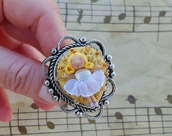 Romantic fabric white ring with little dancer doll, ring organza and swarovski, unique gift, birthday gifts, for her, mothers day idea gift